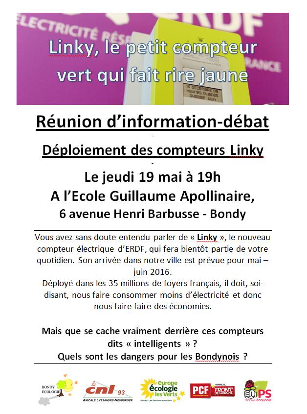 Réunion d'information / débat – Déploiement des compteurs Linky – Jeudi 19 mai –Bondy